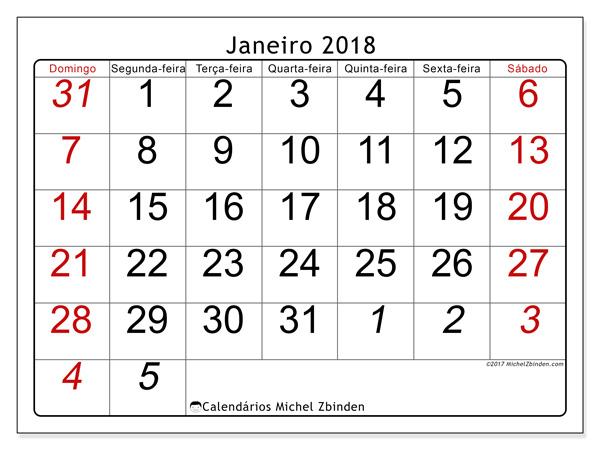 Calendário janeiro 2018, Oseus