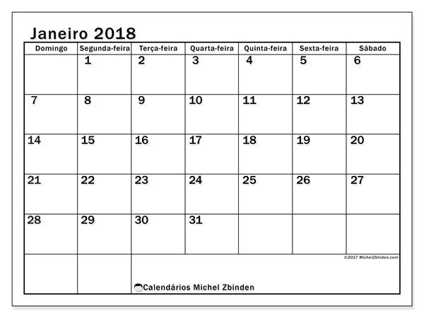 Calendário janeiro 2018, Tiberius