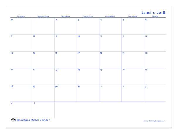 Calendário janeiro 2018 - Vitus (br)