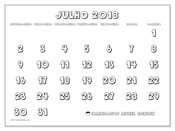 Calendário julho 2018, Adrianus