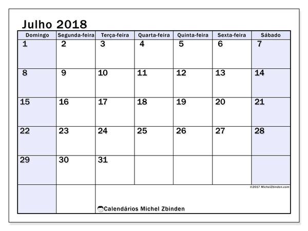 Calendário julho 2018, Auxilius