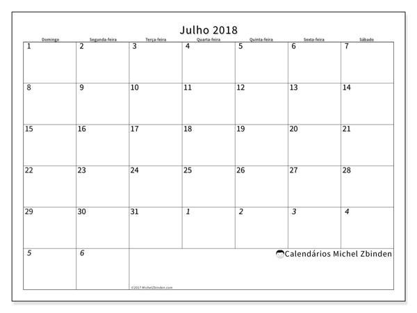 Calendário julho 2018, Deodatus