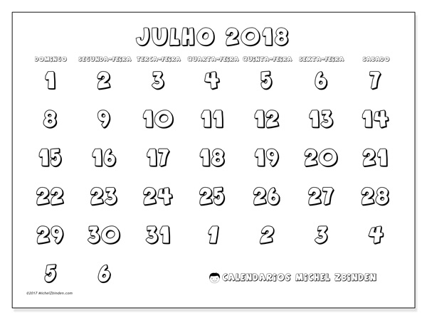 Calendário julho 2018, Hilarius