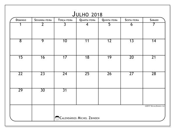 Calendário julho 2018, Marius