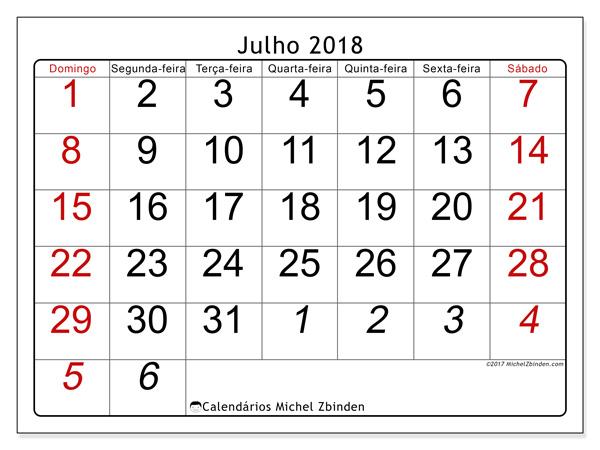 Calendário julho 2018, Oseus