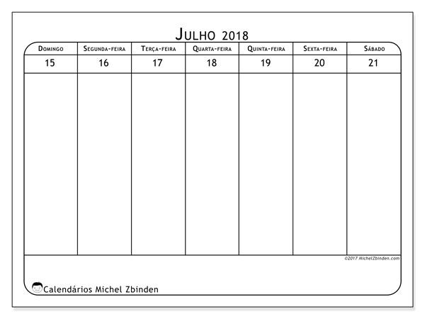 Calendário julho 2018, Septimanis 3