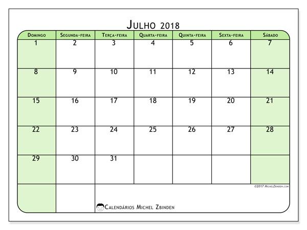 Calendário julho 2018, Silvanus