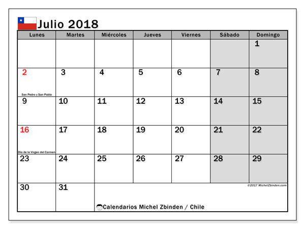 Calendario julio 2018, Días feriados en Chile