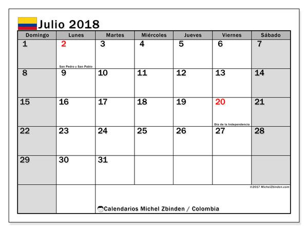 Calendario julio 2018, Días festivos en Colombia
