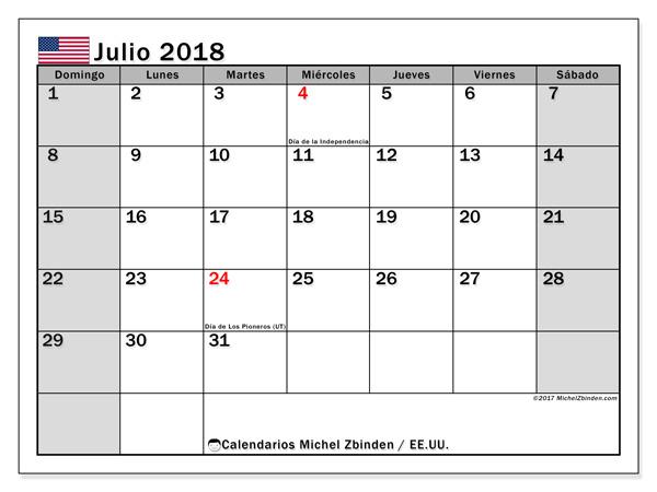 Calendario julio 2018, Días feriados en el EE.UU.