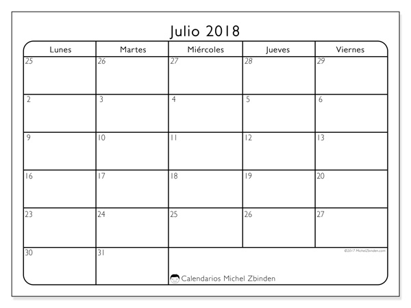 Calendario julio 2018 - Egidius (cl)