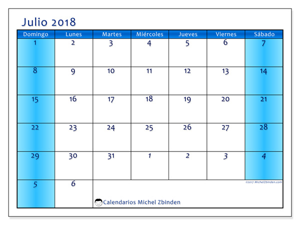 Calendario julio 2018, Fidelis
