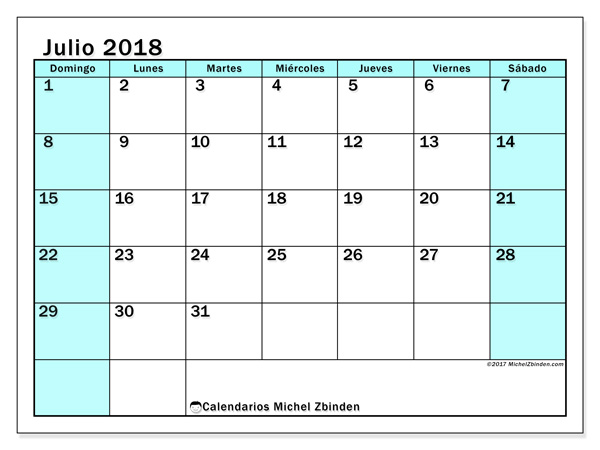 Calendario julio 2018 - Laurentia (co)