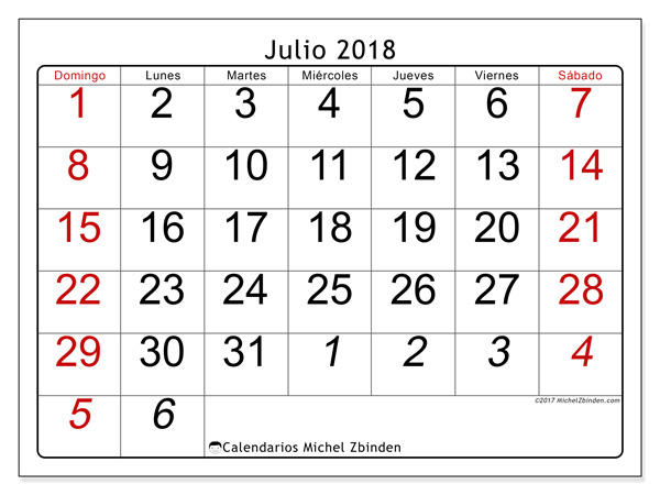 Calendario julio 2018, Oseus