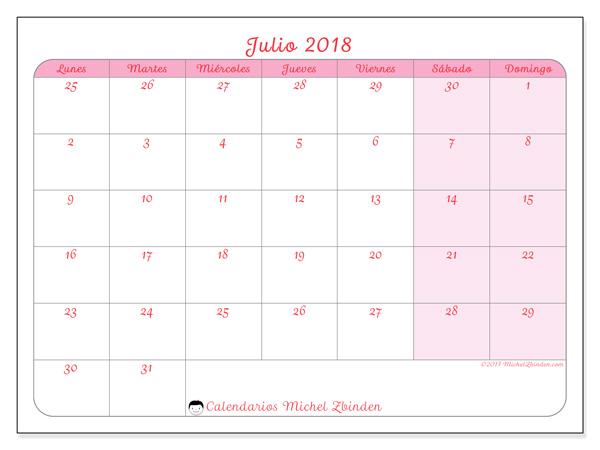 Calendario julio 2018, Rosea
