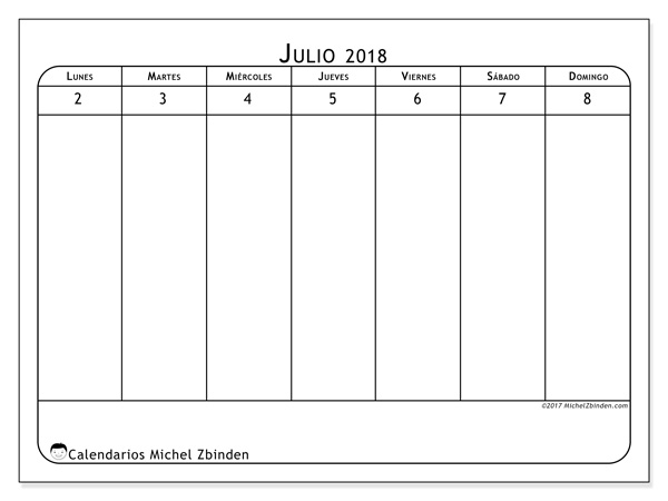 Calendario julio 2018, Septimanis 1