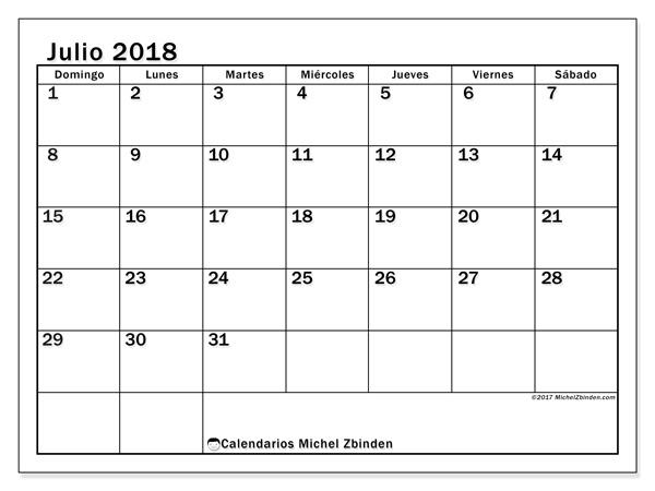 Calendario julio 2018 - Tiberius (co)
