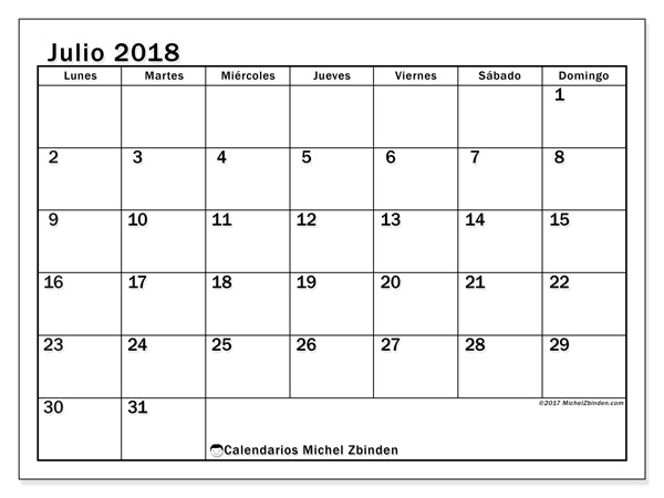 Calendario julio 2018 - Tiberius (cl)