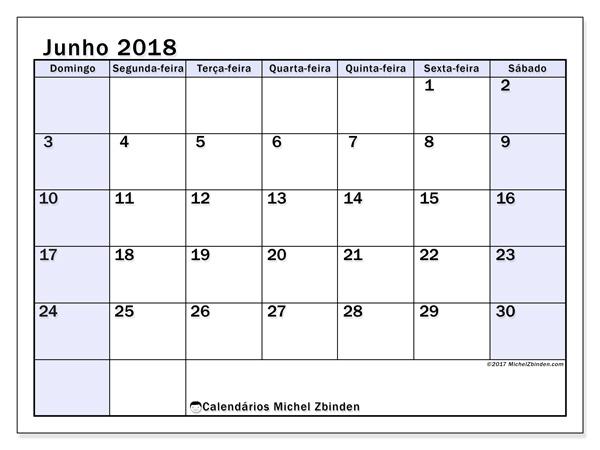 Calendário junho 2018, Auxilius