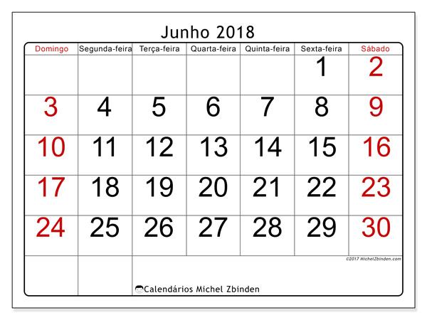 Calendário junho 2018, Emericus