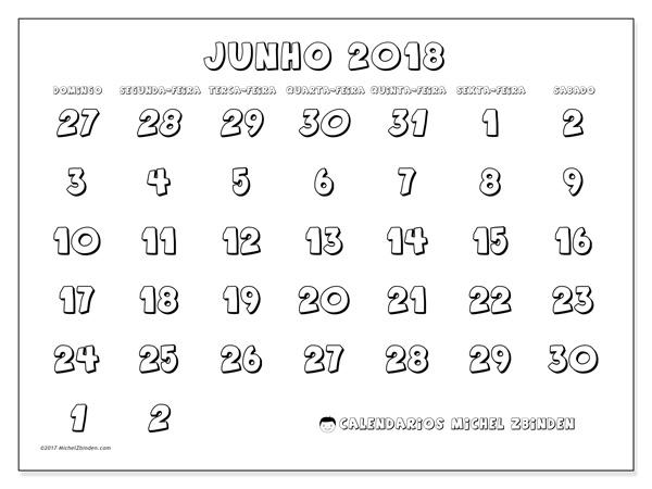 Calendário junho 2018, Hilarius