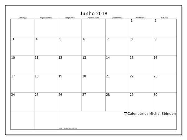Calendário junho 2018, Horus