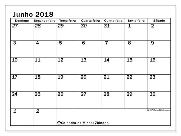 Calendário junho 2018, Julius