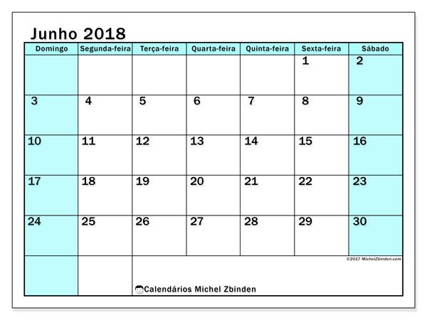 Calendário junho 2018 - Laurentia (br)
