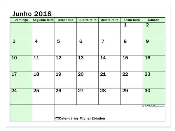 Calendário junho 2018, Nereus