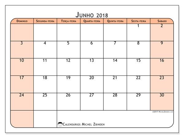 Calendário junho 2018, Olivarius