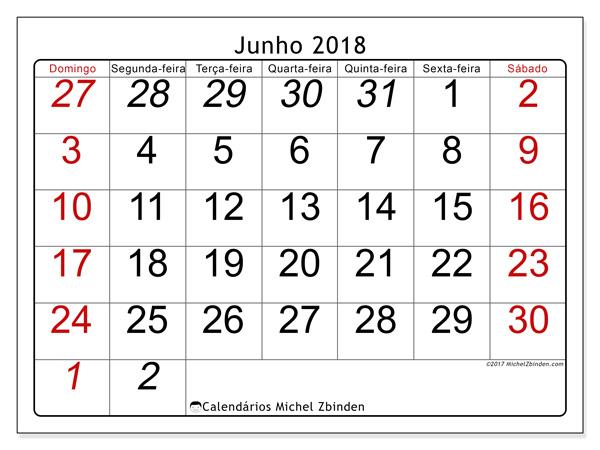 Calendário junho 2018, Oseus