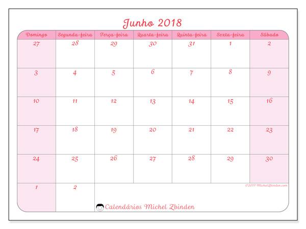 Calendário junho 2018, Rosea