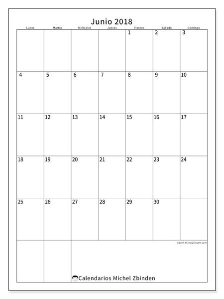 Calendario junio 2018, Antonius
