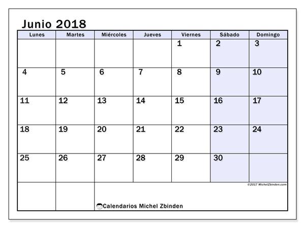 Calendario junio 2018, Auxilius