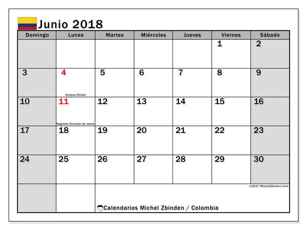 Calendario junio 2018, Días festivos en Colombia