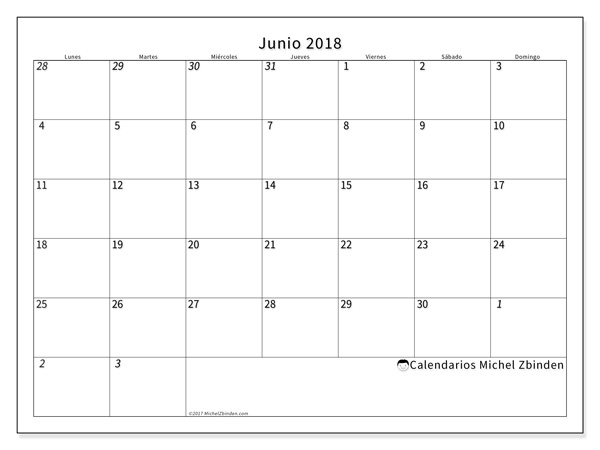 Calendario junio 2018 - Deodatus (cl)