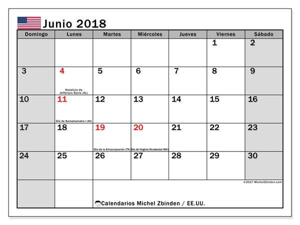 Calendario junio 2018, Días feriados en el EE.UU.