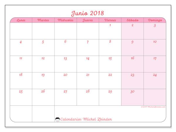 Calendario junio 2018, Generosa