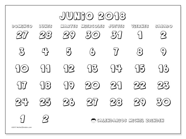Calendario junio 2018, Hilarius