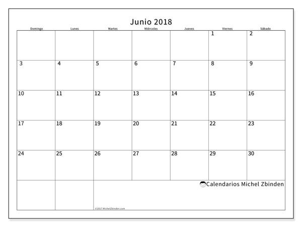 Calendario junio 2018 - Horus (co)