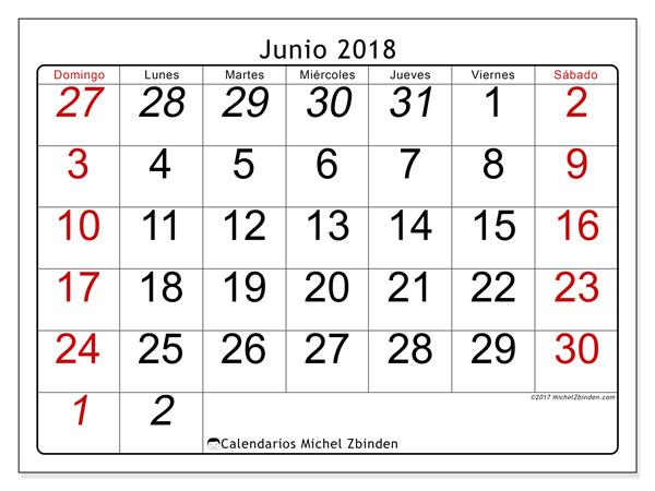 Calendario junio 2018, Oseus