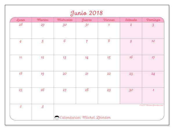 Calendario junio 2018, Rosea