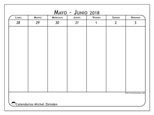 Calendario junio 2018, Septimanis 1