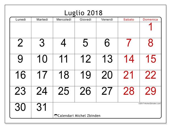 Calendario luglio 2018, Emericus