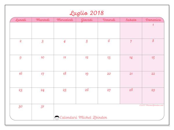 Calendario luglio 2018, Generosa