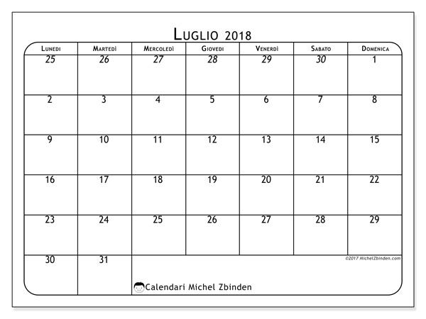 Calendario luglio 2018, Maximus