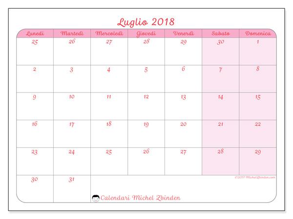 Calendario luglio 2018, Rosea