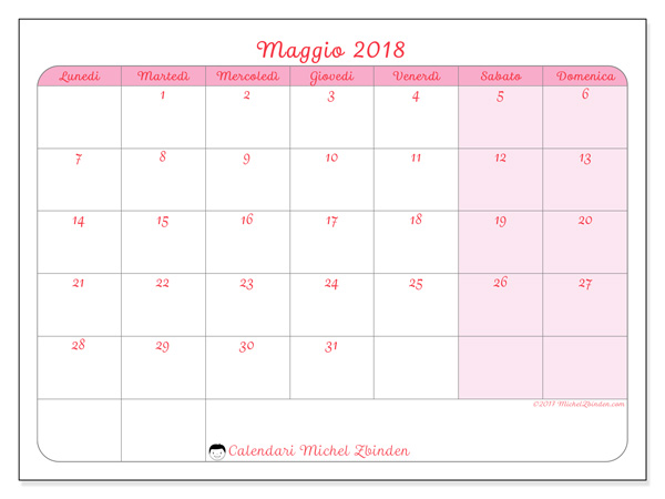 Calendario maggio 2018, Generosa