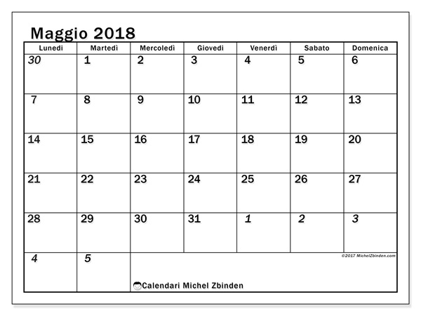 Calendario maggio 2018, Julius