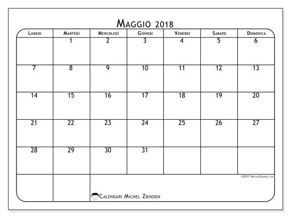 Calendario maggio 2018, Marius